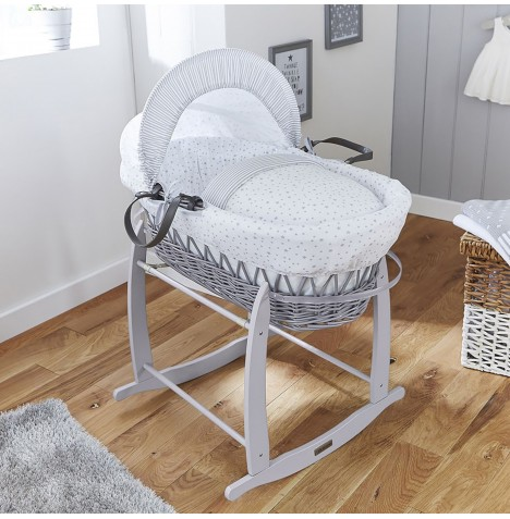 4baby Padded Grey Wicker Moses Basket & Deluxe Rocking Stand - Sweet Little Stars Grey