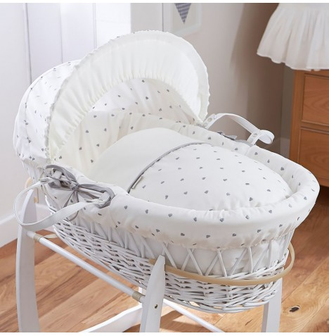 4baby Padded White Wicker Moses Basket - Forever Hearts