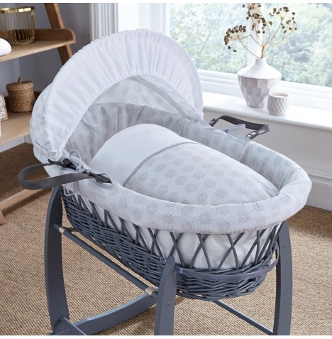 4baby Padded Grey Wicker Moses Basket - Powder Pop Grey