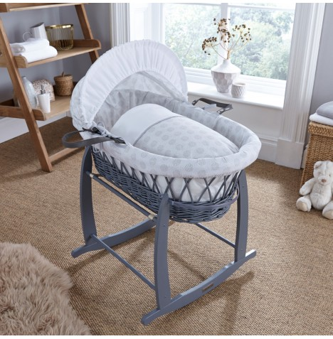4baby Padded Grey Wicker Moses Basket & Deluxe Rocking Stand - Powder Pop Grey