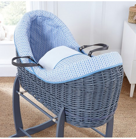 4baby Grey Wicker Crossover Noah Pod - Seedling Blue