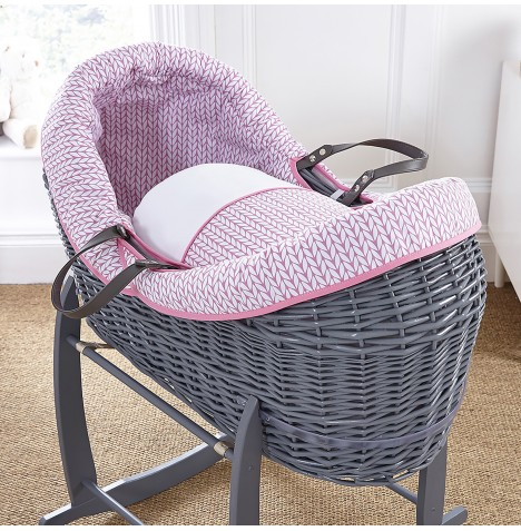 4baby Grey Wicker Crossover Noah Pod - Seedling Pink