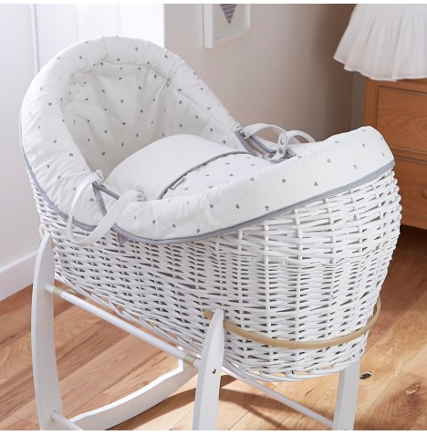4baby White Wicker Crossover Noah Pod - Forever Hearts