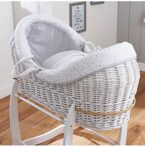 4baby White Wicker Crossover Noah Pod - Sweet Little Stars Grey