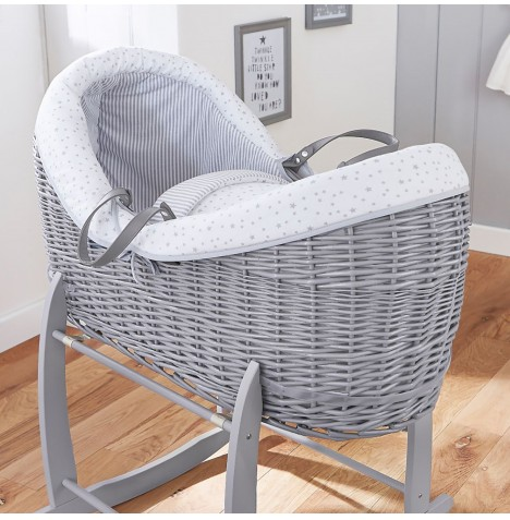 4baby Grey Wicker Crossover Noah Pod - Sweet Little Stars Grey