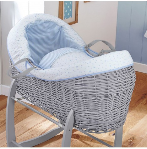 4baby Grey Wicker Crossover Noah Pod - Sweet Little Stars Blue