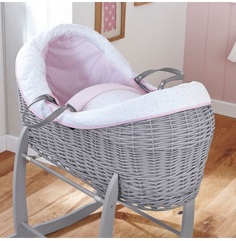 4baby Grey Wicker Crossover Noah Pod - Sweet Little Stars Pink