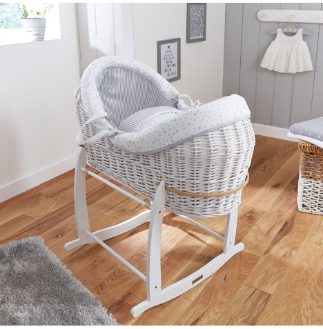 4baby White Wicker Crossover Noah Pod & Deluxe Rocking Stand - Sweet Little Stars Grey