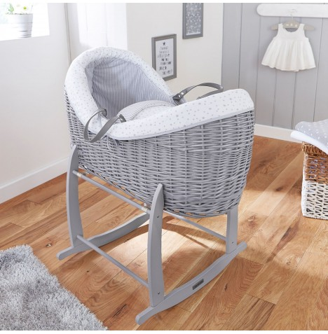 4baby Grey Wicker Crossover Noah Pod & Deluxe Rocking Stand - Sweet Little Stars Grey