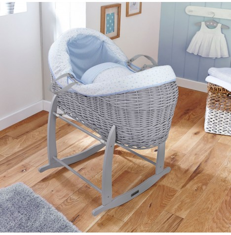 4baby Grey Wicker Crossover Noah Pod & Deluxe Rocking Stand - Sweet Little Stars Blue
