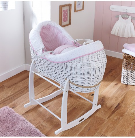 4baby White Wicker Crossover Noah Pod & Deluxe Rocking Stand - Sweet Little Stars Pink