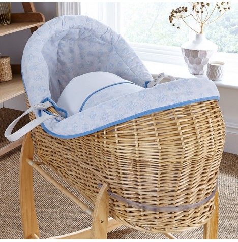 4baby Natural Wicker Crossover Noah Pod - Powder Pop Blue