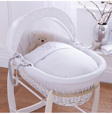 4baby Padded White Wicker Moses Basket - Twinkle White