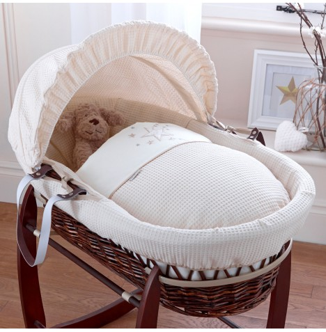 4baby Padded Dark Wicker Moses Basket - Twinkle Cream