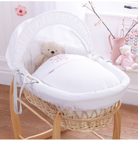 4baby Padded Natural Wicker Moses Basket - Twinkle Pink