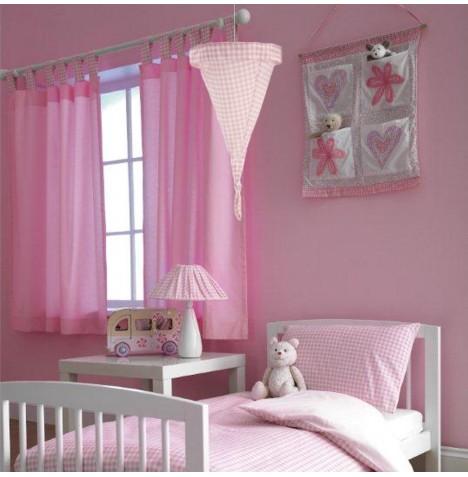 New Baroo Pink Gingham Baby Girls Nursery Tab Top Curtains Ebay