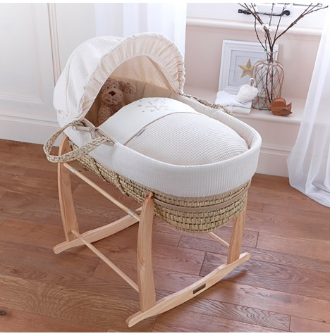 4baby Deluxe Palm Moses Basket & Deluxe Rocking Stand - Twinkle Cream