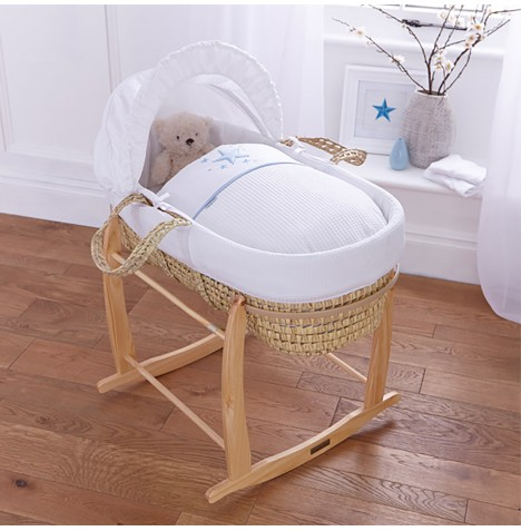 4baby Deluxe Palm Moses Basket & Deluxe Rocking Stand - Twinkle Blue
