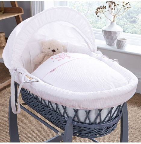 4baby Padded Grey Wicker Moses Basket - Twinkle Pink