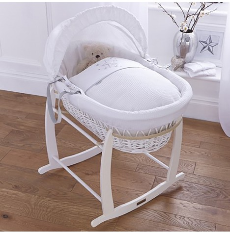 4baby Padded White Wicker Moses Basket & Deluxe Rocking Stand - Twinkle White