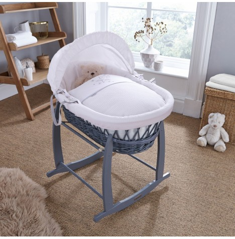 4baby Padded Grey Wicker Moses Basket & Deluxe Rocking Stand - Twinkle White