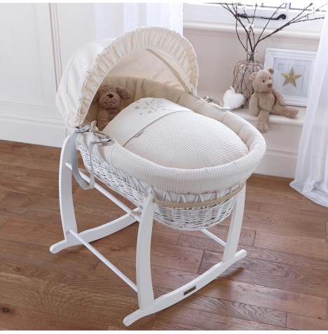 4baby Padded White Wicker Moses Basket & Deluxe Rocking Stand - Twinkle Cream