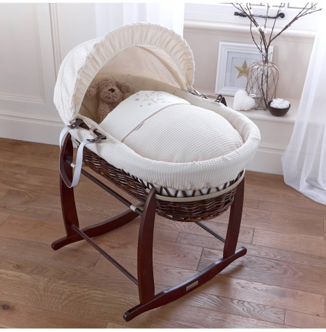 4baby Padded Dark Wicker Moses Basket & Deluxe Rocking Stand - Twinkle Cream