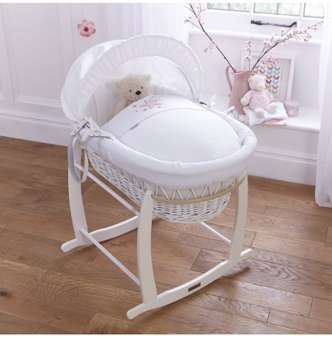 4baby Padded White Wicker Moses Basket & Deluxe Rocking Stand - Twinkle Pink