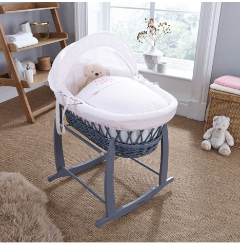 4baby Padded Grey Wicker Moses Basket & Deluxe Rocking Stand - Twinkle Pink