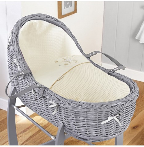4baby Grey Wicker Willow Bassinet Moses Basket - Twinkle Cream