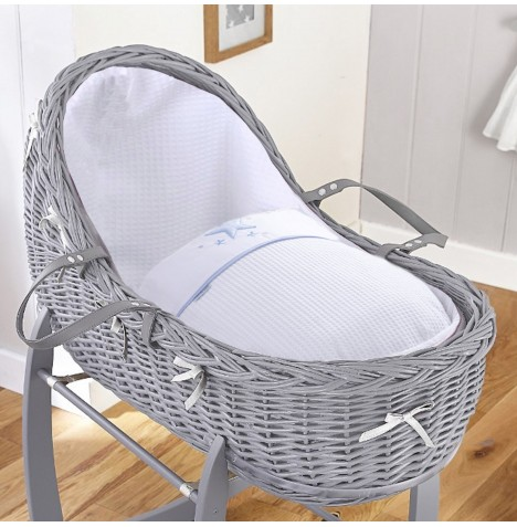 4baby Grey Wicker Willow Bassinet Moses Basket - Twinkle Blue