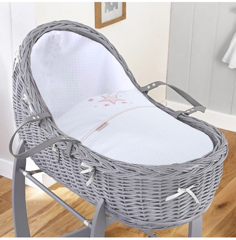 4baby Grey Wicker Willow Bassinet Moses Basket - Twinkle Pink