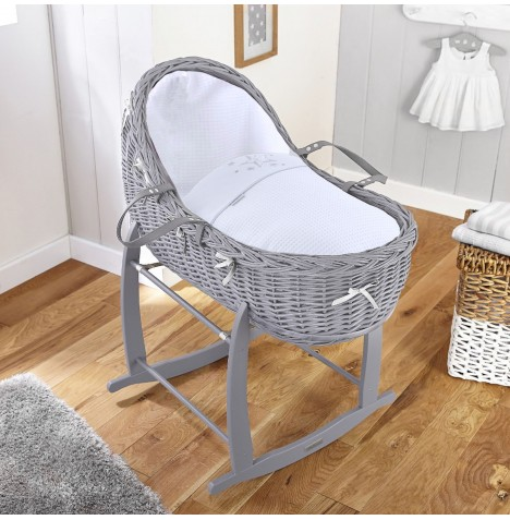 4baby Grey Wicker Willow Bassinet Moses Basket & Deluxe Rocking Stand - Twinkle White