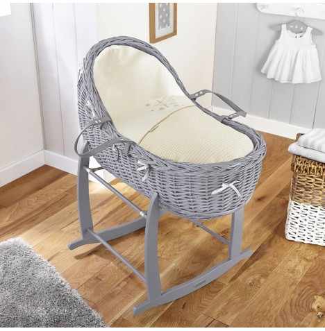 4baby Grey Wicker Willow Bassinet Moses Basket & Deluxe Rocking Stand - Twinkle Cream