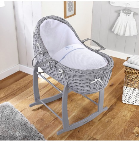 4baby Grey Wicker Willow Bassinet Moses Basket & Deluxe Rocking Stand - Twinkle Blue