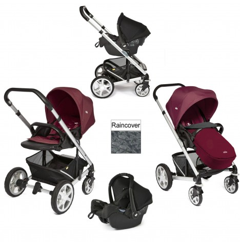 Joie Chrome Plus Silver Frame Travel System (With Colour Pack) - Wine