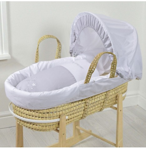 4baby Deluxe Padded Palm Moses Basket - My Little Star Grey
