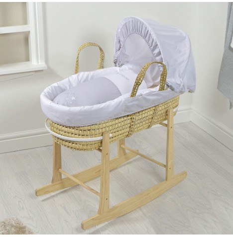 4baby Padded Deluxe Palm Moses Basket & Rocking Stand - My Little Star Grey