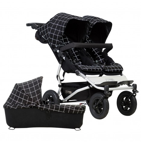 Mountain Buggy Duet V3 Twin Pushchair & Carrycot - Grid
