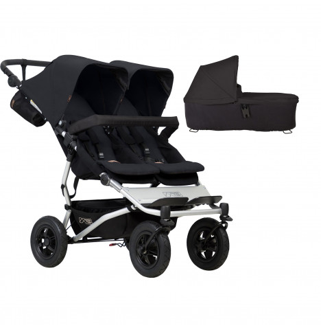 Mountain Buggy Duet V3 Twin Pushchair & Carrycot - Black