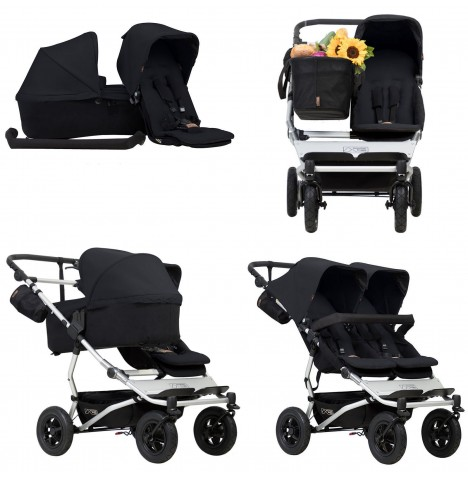 Mountain Buggy Duet V3 Single / Twin Pushchair With Family Pack - Black