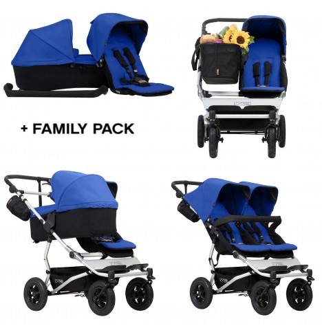Mountain Buggy Duet V3 Single / Twin Pushchair With Family Pack - Marine