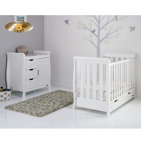 Obaby Stamford Mini 2 Piece Nursery Room Set - White