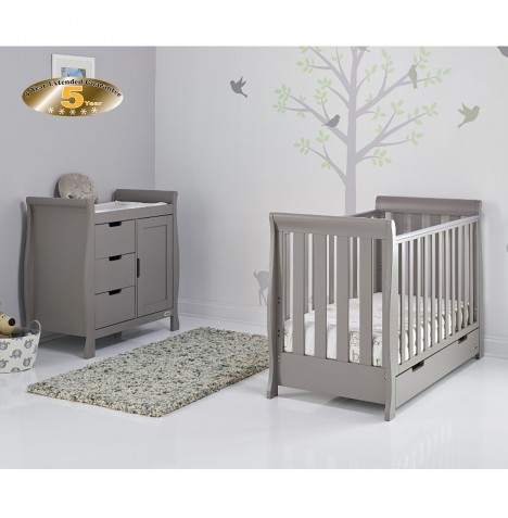 Obaby Stamford Mini 2 Piece Nursery Room Set - Taupe Grey