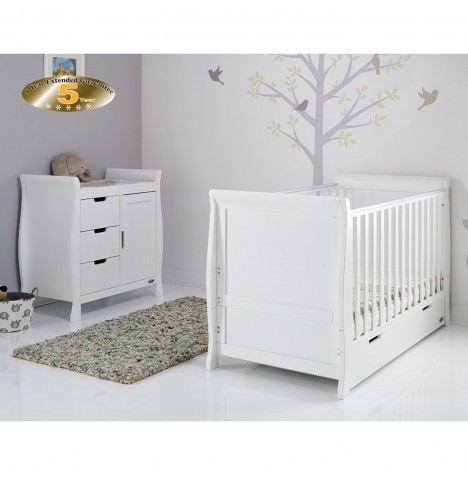 Obaby Stamford Classic Sleigh 2 Piece Nursery Room Set - White