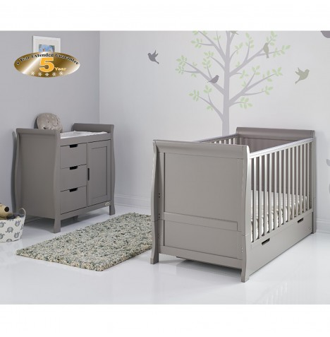 Obaby Stamford Sleigh 2 Piece Room Set - Taupe Grey