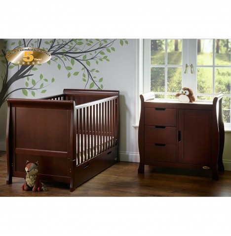 Obaby Stamford Sleigh 2 Piece Room Set - Walnut