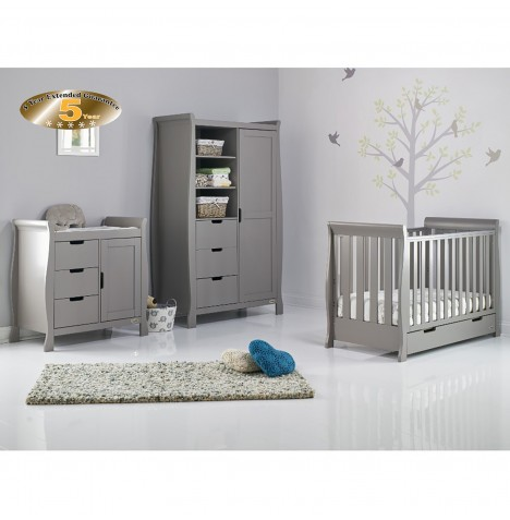Obaby Stamford Mini 3 Piece Nursery Room Set - Taupe Grey