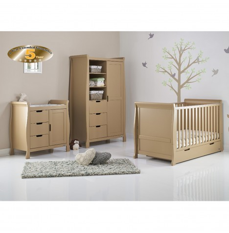 Obaby Stamford Sleigh 3 Piece Room Set - Iced Coffee