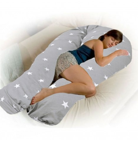 4baby 12ft Body & Baby Sleep Support Pillow - Grey / White Stars..